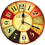 """EIALA 12"""" Vintage Country France Style Non-Ticking Silent Antique Wood Wall Clock (12"""", Multi-color)"""
