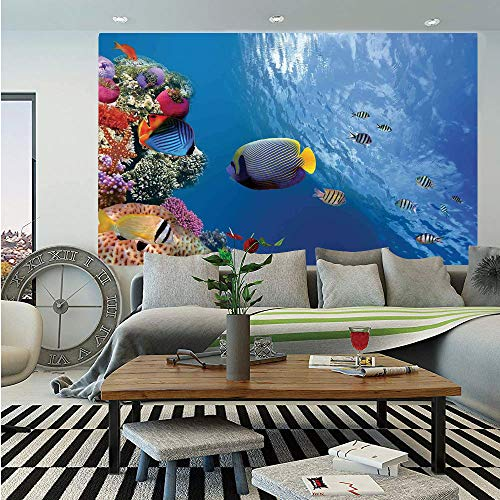SoSung Farm House Decor Wall Mural,Tropical Emperor Long Living Angelfish in Underwater Exotic Marine Animal Image,Self-Adhesive Large Wallpaper for Home Decor 83x120 inches,Blue