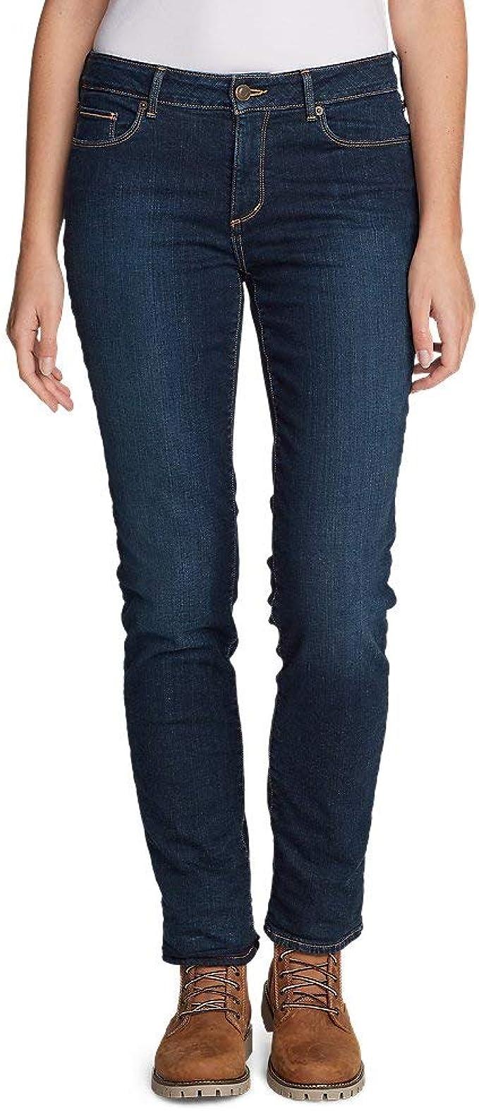 Slightly Curvy Eddie Bauer Womens StayShape Slim Straight Fleece-Lined Jeans