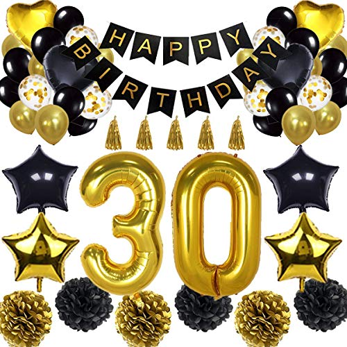 30th Birthday Decorations Balloon Banner - Happy Birthday Banner, 30th Gold Number Balloons, Black and Gold, Number 30 Birthday Balloons, 30 Years Old Birthday Decoration -