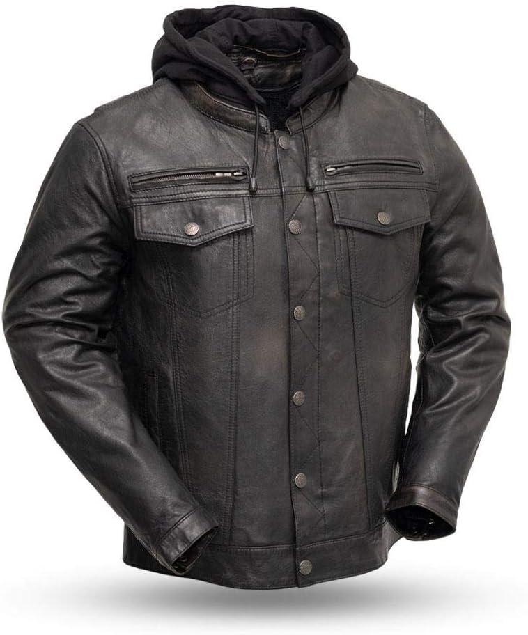 Black Olive, Large First Mfg Co Vendetta Mens Leather Motorcycle Jacket