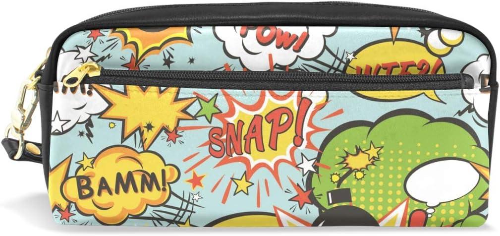 Comic Boom Estuche Estuche Estuche Estuche Estuche Estuche Estuche Bolsa Cuero con Compartimentos para Niños Escolar Mujeres Cosméticos Bolsas Pequeñas: Amazon.es: Oficina y papelería