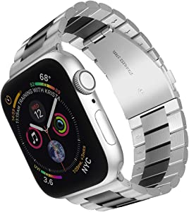 ARTCHE Stainless Steel Replacement Watch Band Compatible with Apple Watch 38mm, 40mm Men Women Strap Bracelet, Adjustable Smart Watch Sport Wristband for Series SE 6 5 / 4 / 3 / 2 / 1 - Middle Black
