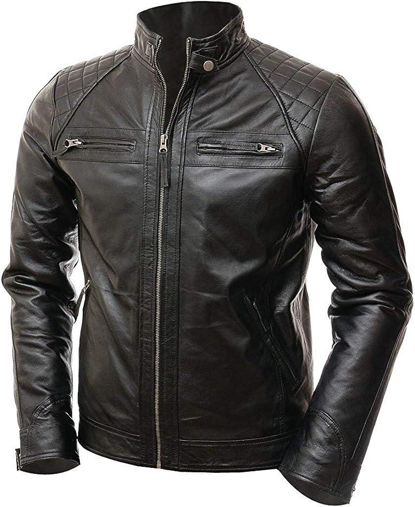 Men/'s Leather Shirt Genuine Lambskin Soft Basic Vintage Jacket Biker Slim Fit