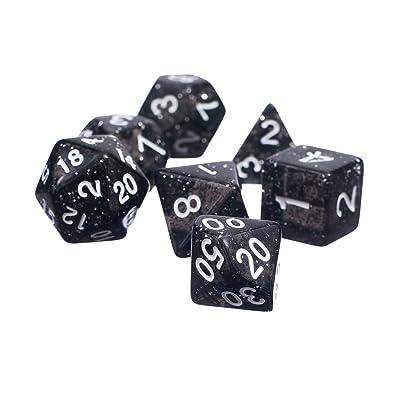 7pcs / Set Juguetes Educativos Matemáticas Dados Mazmorras Y Dragones Trpg Brillo Lados Múltiples - Negro: Juguetes y juegos