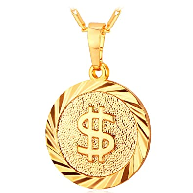 Amazon u7 jewelry chain 18k gold plated round medal pendant u7 jewelry chain 18k gold plated round medal pendant dollar sign necklace aloadofball Gallery