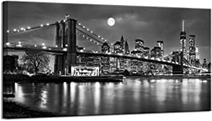 LevvArts - Black and White New York Picture Brooklyn Bridge Canvas Wall Art Full Moon Night Manhattan City Poster Canvas Print Framed Gallery Wrapped Modern Home Office Decoration