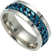 Mnyycxen Mens Spinner Rings, Fidget Ring, Stainless Steel Band, Black, Silver, Multi, Size 6-12
