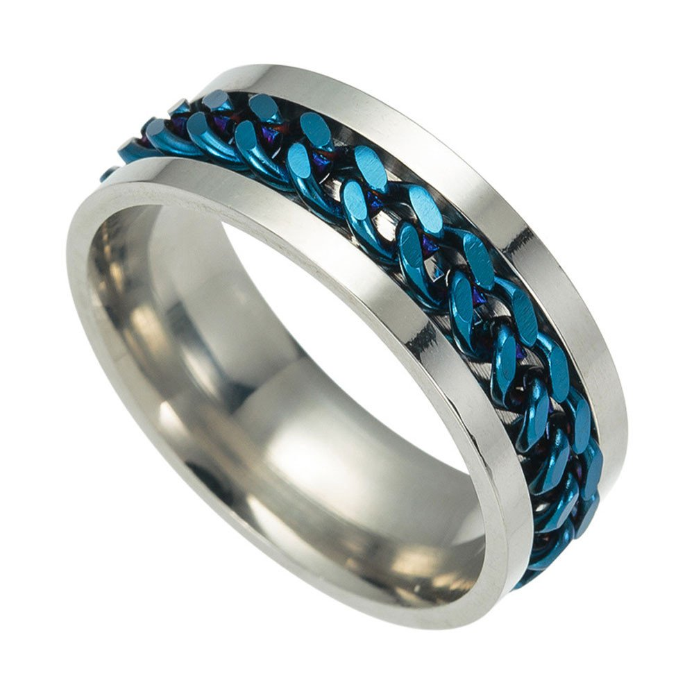 Discountsday Men's Titanium Steel Chain Rotation Ring Cross Border Jewelry Ring Set for Best Friends Promise (BU6) by Discountsday (Image #1)