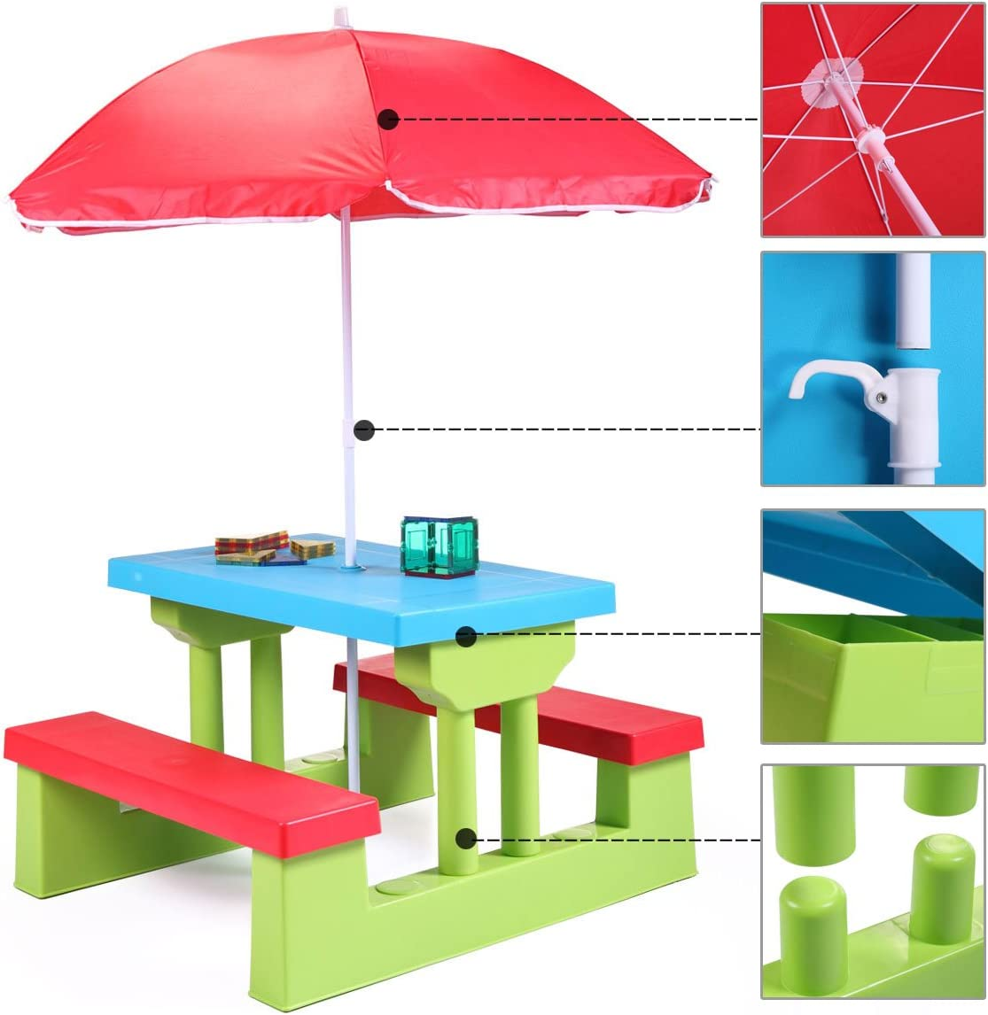 - Amazon.com: JAXPETY Kids Picnic Table With Umbrella Plastic