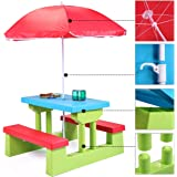 JAXPETY Kids Picnic Table with Umbrella Plastic Folding Outdoor Children Set Play Bench