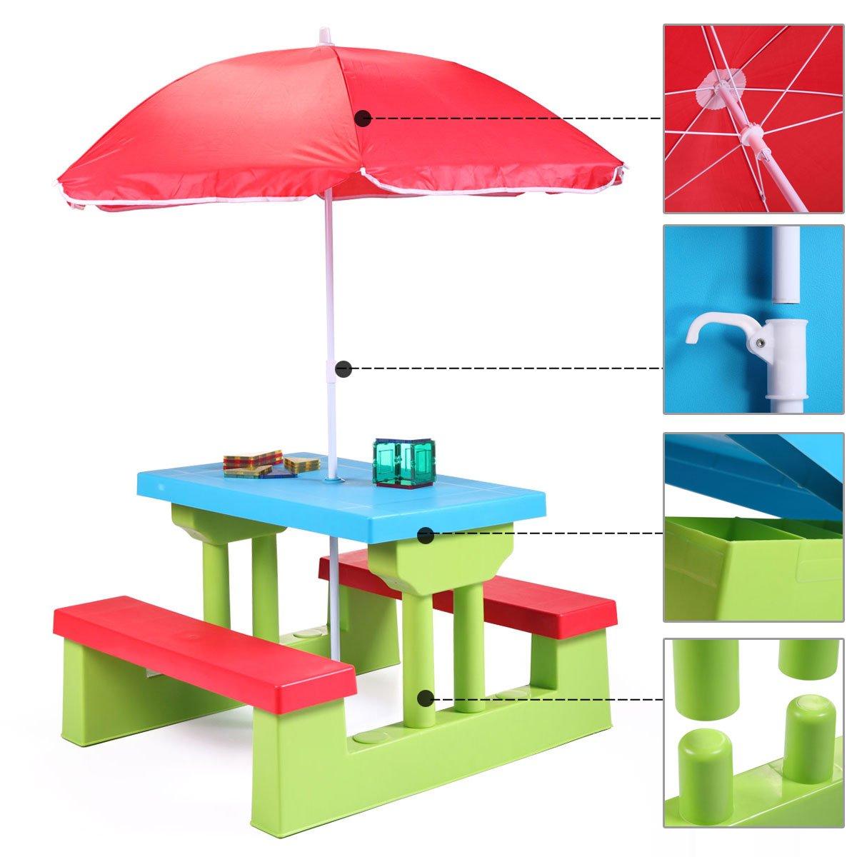 thegreatshopman Kids PicnicTable Set Folding Outdoor Children Set Rainbow Bench w/Umbrella by thegreatshopman