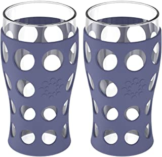product image for Lifefactory 20-Ounce BPA-Free Indoor/Outdoor Protective Silicone Sleeve Beverage Glass, 2-Pack, Dusty Purple