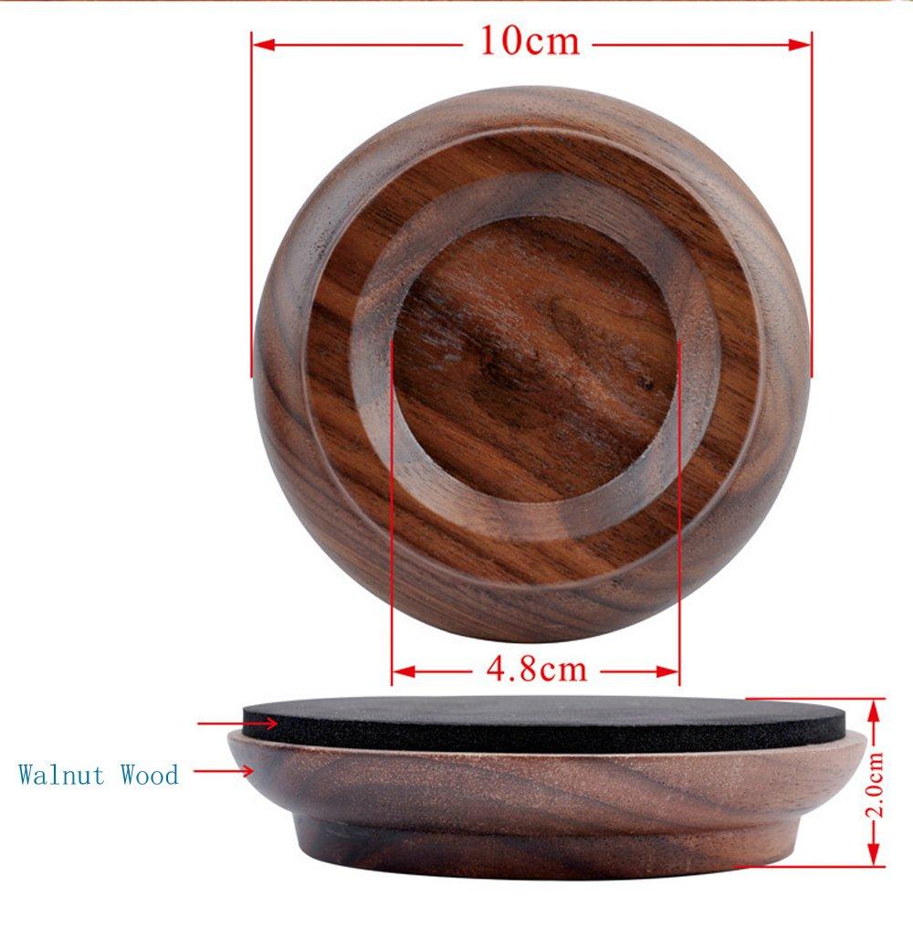 NUZAMAS Set of 4 Upright Piano Caster Cups Walnut Wood Feet Pad Timber Floor Carpet Protector Slip Resistant Deep Brown