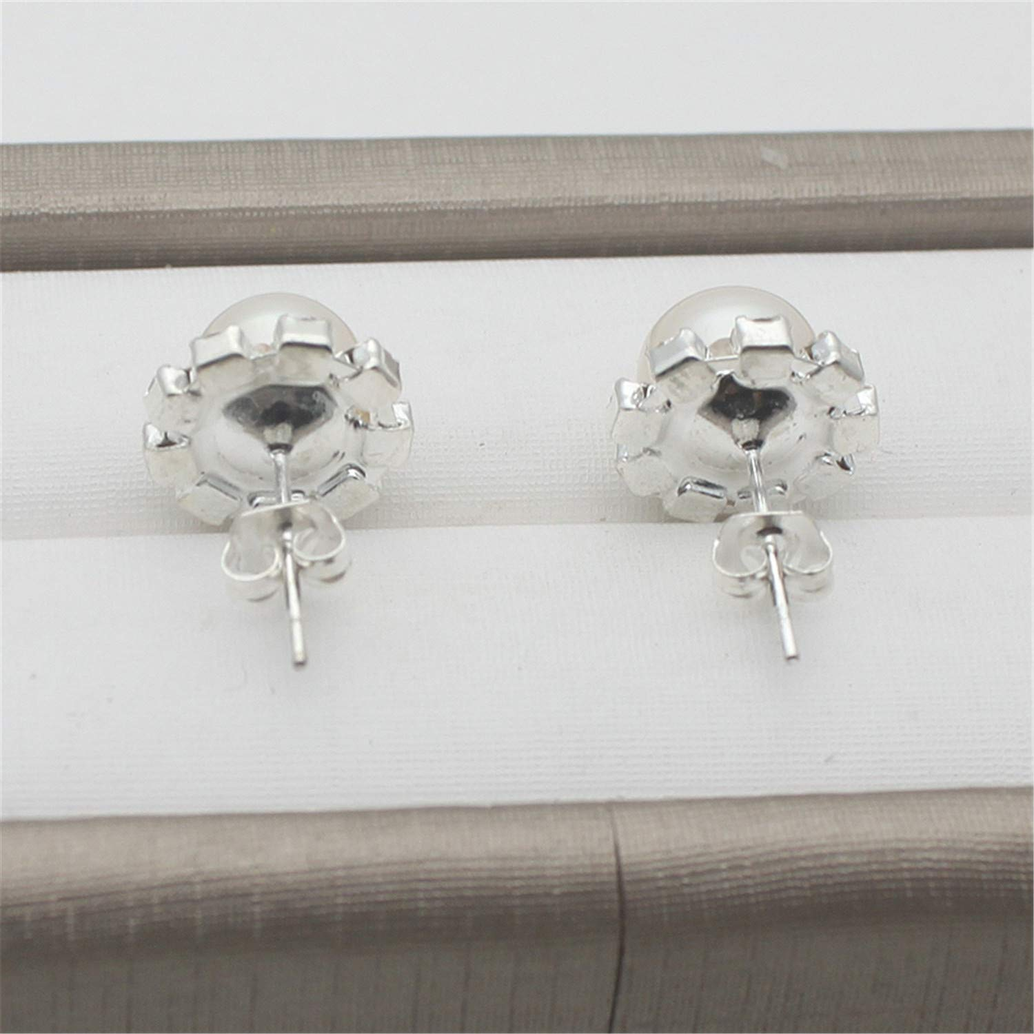925 Silver Needle Fine Jewelry Crystal Earrings Natural Freshwater Pearl Stud Earrings For Women Party Purple 6-7mm