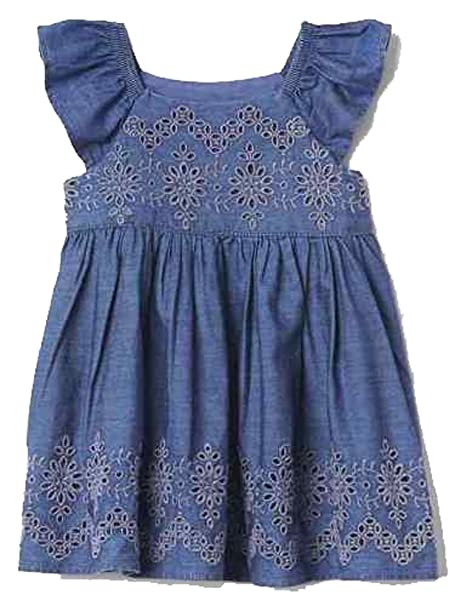 424710c8 Amazon.com: Baby Gap Blue Chambray Eyelet Flutter Dress 3-6 Months: Clothing