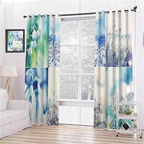 Toopeek Home Decor Collection Wear-Resistant Color Curtain Spring Wild Flowers Themed Collage with Daisy and Violets in The Meadow Countryside Picture 2 Panel Sets W72 x L72 Inch Blue Beige