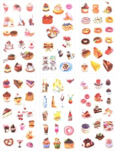 3 Set(18 Sheet) Delicious Dessert Food Cake Cookies Bread Donut Ice Cream Drink Stationery Sticker Scrapbooking Planner Journal Diary Decorative Label Boys Girls Kids DIY Craft Stickers (Dessert)