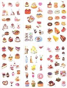 3 Set(18 Sheet) Delicious Dessert Food Cake Cookies Bread Donut Ice Cream Drink Stationery Sticker Scrapbooking Planner Journal Diary Decorative Label Boys Girls Kids DIY Craft Stickers (Dessert)