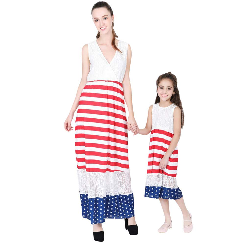 Family Fit Women Summer  Independence Day Lace Panel American Flag Maxi Dress White