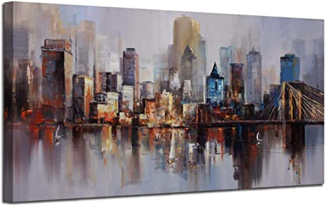 Canvas Wall Art Prints Modern Abstract Cityscape Brooklyn Bridge Painting Framed Extra Large Colorful New York Skyline Buildings Picture For Living Room Home Office Decor 60 X30 Original Design Everything Else