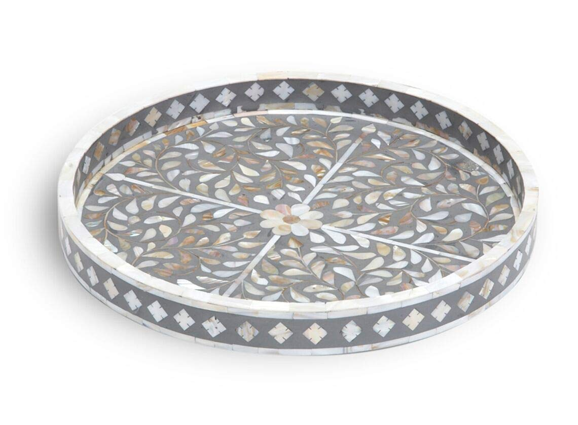 Traditional Handmade Floral Design Round Bone Inlay Tray in Black Small
