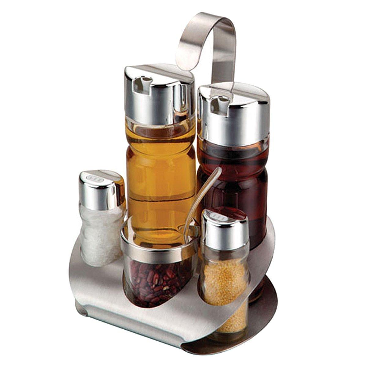 VDOMUS Glass Cruet Set with Stand Oil Vinegar Dispenser Salt and Pepper Shaker Bottles Serving Set Picnic Table Condiment Server Holder, 5 piece VMHKSR0098FP
