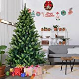 Amaethon 7FT Tree 7 Ft Artificial Christmas 1010 Tips Metal Legs Green Solid Full Stand Holiday Gift