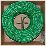 Offex Plenum Cat6 Bulk Cable, Solid, UTP CMP, 23 AWG, Pullbox, 1000-Foot, Green, (OF-11X8-051TH)