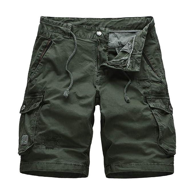 Amazon.com: LUXISDE Pantalones cortos para hombre de algodón ...