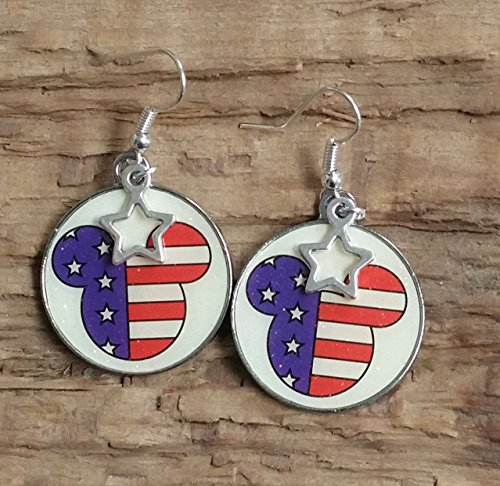 Patriotic Mouse and Stars - Disney Star Earrings