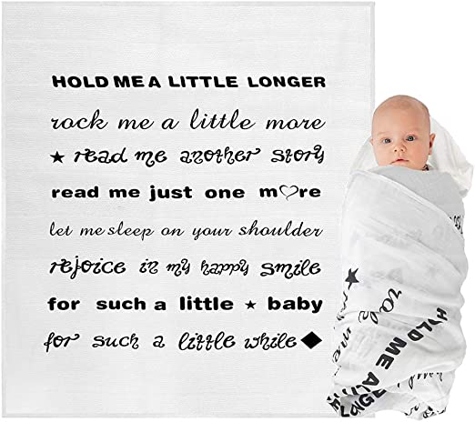 Perfect 100/% Organic Cotton Boutique Quality Newborn Blanket Hold Me A Little Longer Fayfaire Muslin Swaddle Blanket for Baby