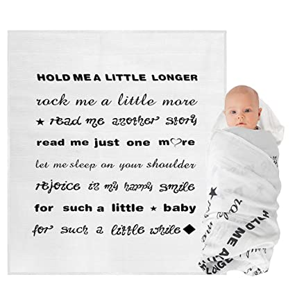 Amazon.com Baby Muslin Swaddle Blankets with Quote Receiving Blanket for Newborn Boy and Girl Personalized Baby Gifts Home u0026 Kitchen  sc 1 st  Amazon.com & Amazon.com: Baby Muslin Swaddle Blankets with Quote Receiving ...