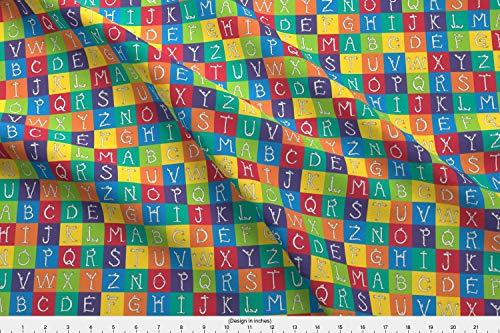 Spoonflower Block Fabric - Block Charm Square Alphabet Crayon Rainbow Monster - by Weavingmajor Printed on Fleece Fabric by The Yard