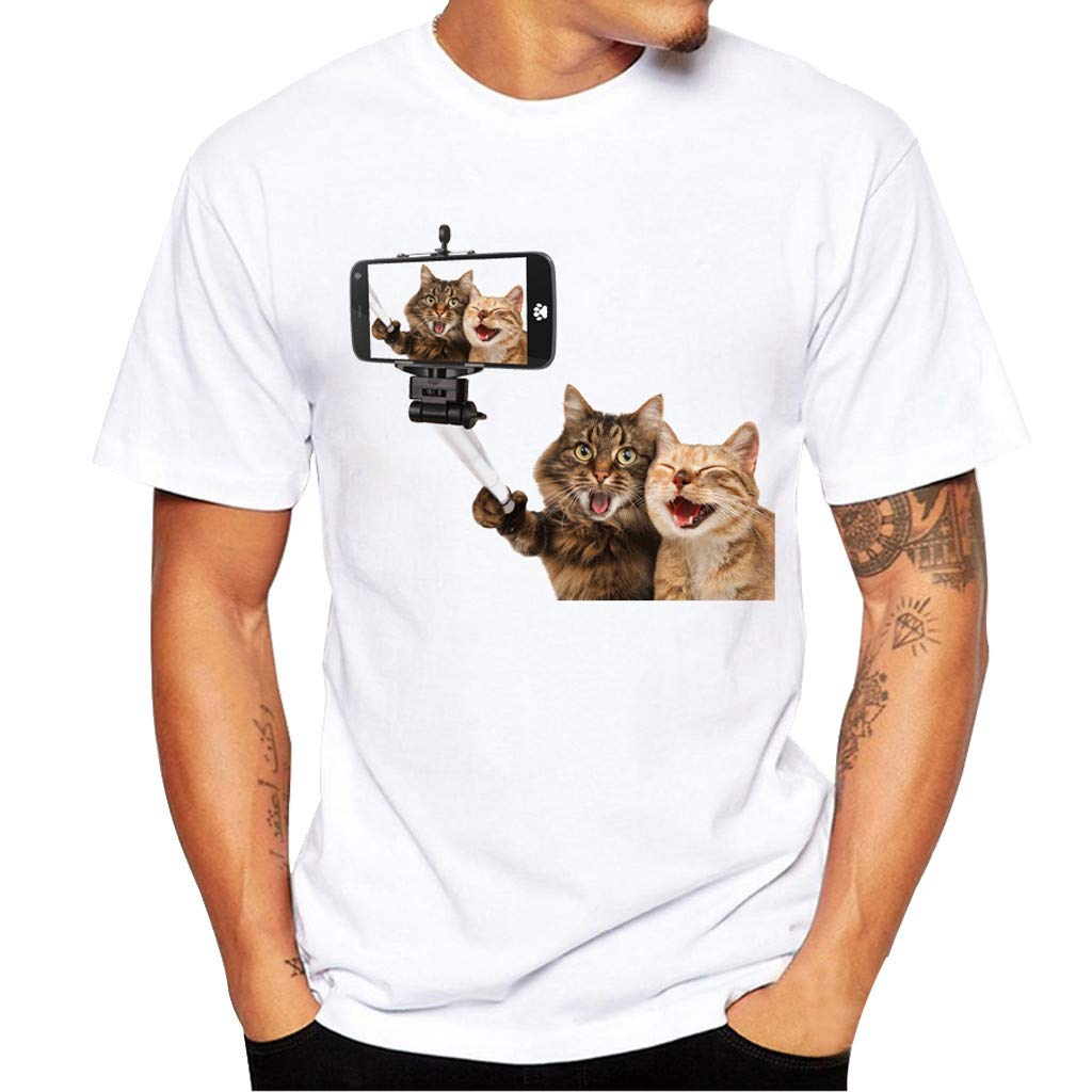 Willsa Mens Shirts, Unisex Solid Color Cute Cat Printing Tees Shirt Short Sleeve Casual Couples Tops Blouse White