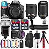Holiday Saving Bundle for D3300 DSLR Camera + 55-200mm VR II Lens + AF-P 18-55mm + Flash with LCD Display + Battery Grip + 6PC Graduated Color Filter Set + 2yr Warranty - International Version