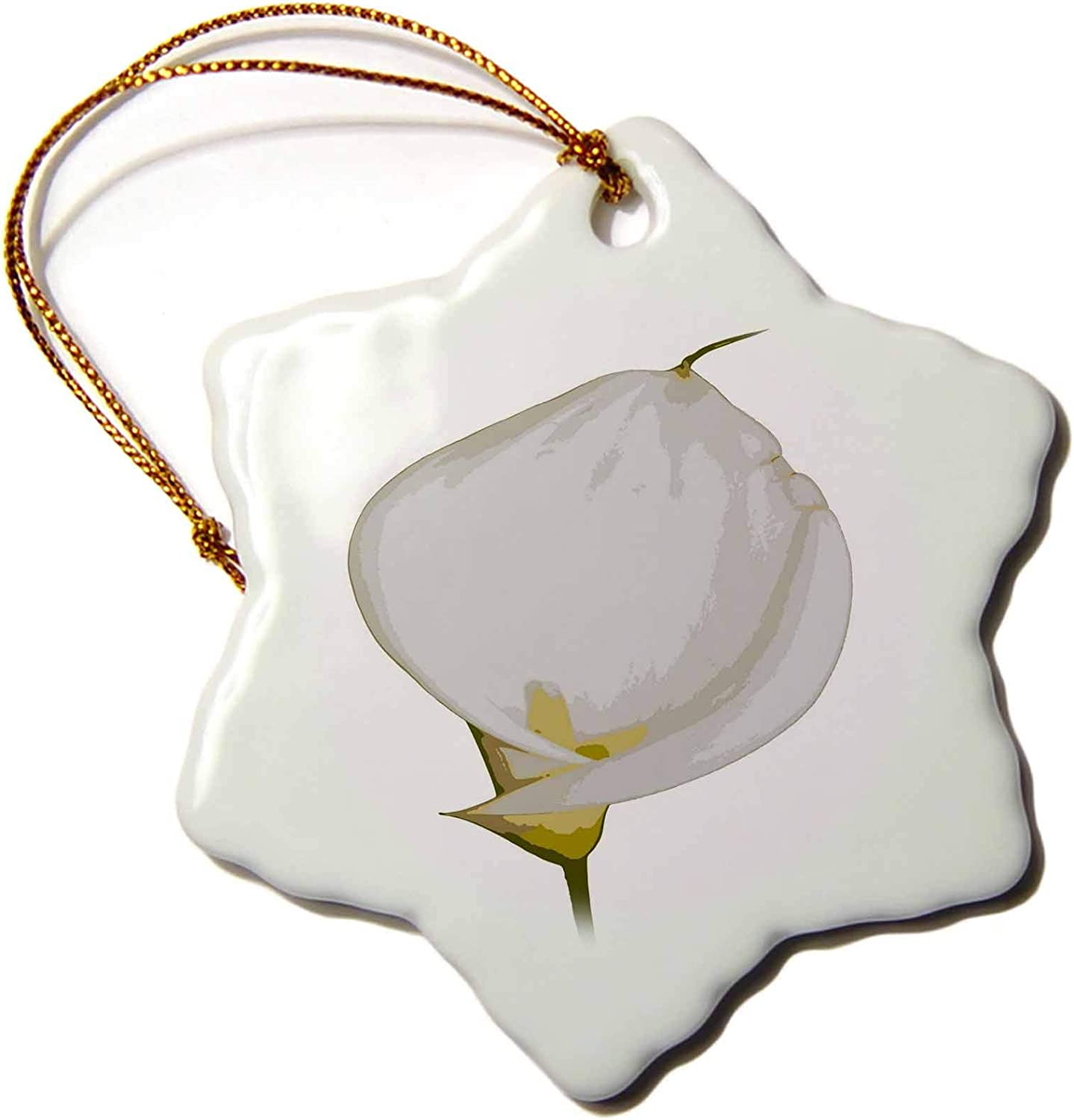 3dRose Single White Easter Lily Isolated on a White Background - Ornaments (ORN_338115_1)