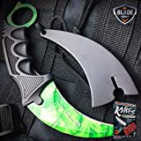 TACTICAL COMBAT KARAMBIT NECK KNIFE Hunting BOWIE Fixed Blade Green Gamma NEW +