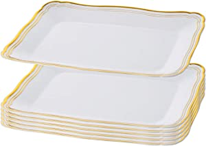 Plastic Serving Tray | White Rectangular Serving Trays With Gold Rim Border, Disposable Heavyweight Serving Party 9