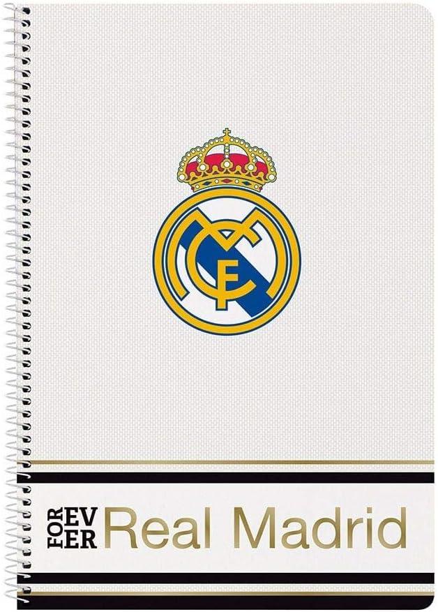 Regalo para Ni/ños! Contiene Cuaderno A4 Set de Regalo de F/útbol para Ni/ños Real Madrid FC Juego de Regalo de Papeler/ía Carpeta y Estuche 80 p/áginas