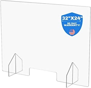 """Large Protective Sneeze Guard for Counter Tops and Desks - 32""""x24"""" Free Standing Clear Acrylic Shield Perfect for Small Businesses, Corporate Offices, Restaurants, Hotels, Schools, Gyms, delis etc"""