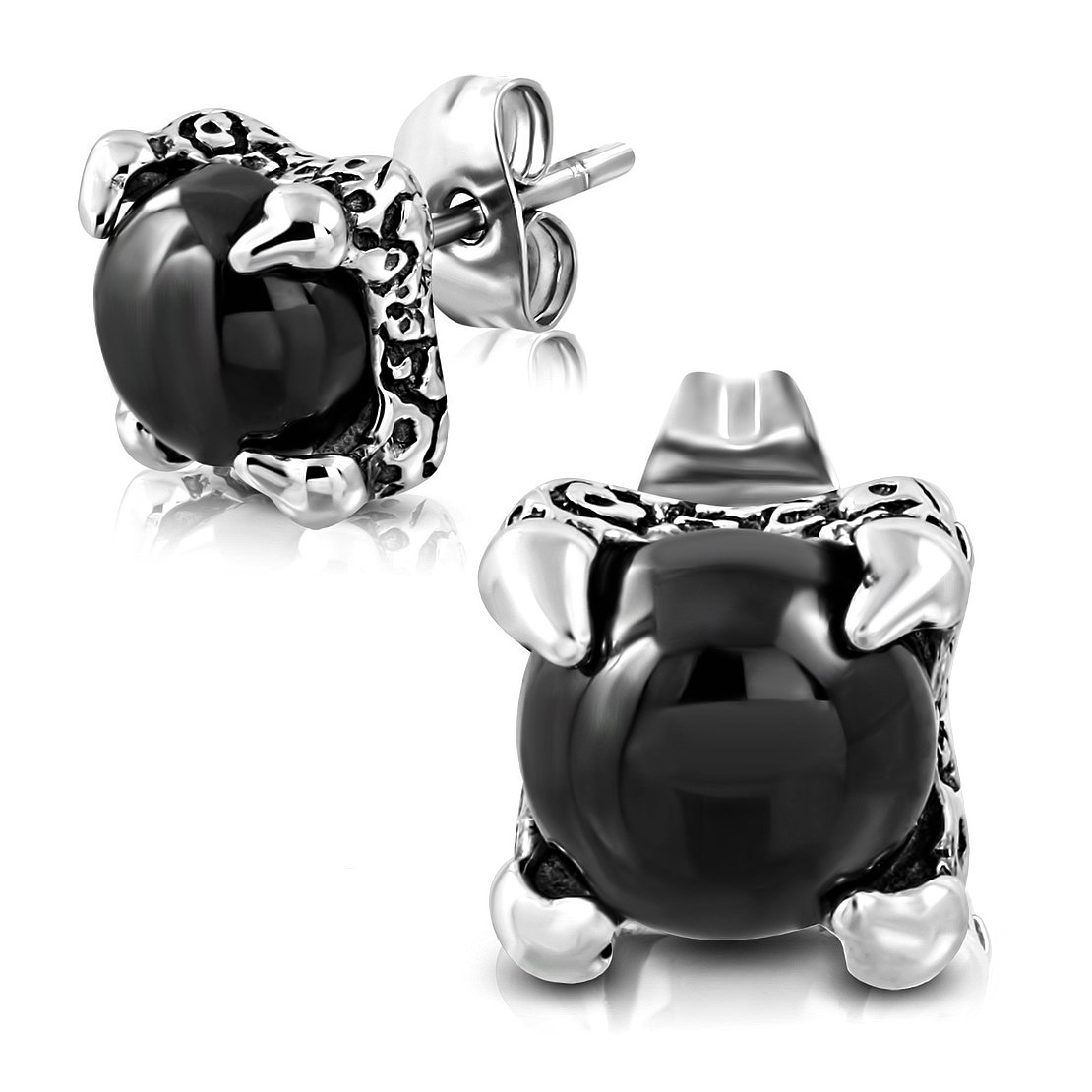 pair Stainless Steel 2 Color Dragon Hand Ball Stud Earrings with Black Onyx