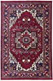 Antep Rugs Oriental Wave Collection Tabriz Design Oriental Area Rug, Red/Ivory