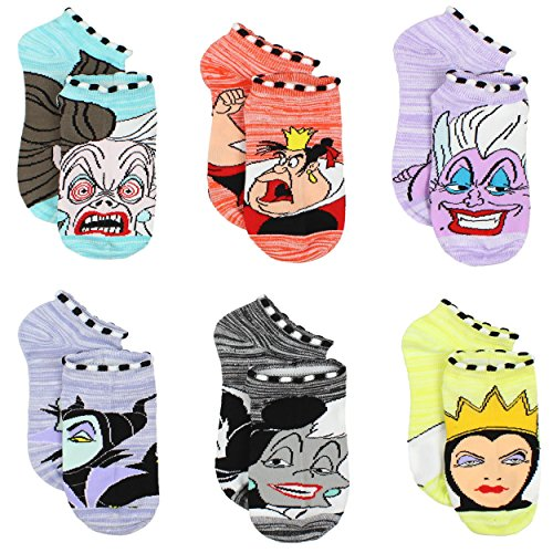 Disney Villains Girls Teen Womens 6 pack Socks (6-8 Girls (Shoe: 10-4), Villains Purple/Multi) for $<!--$12.99-->