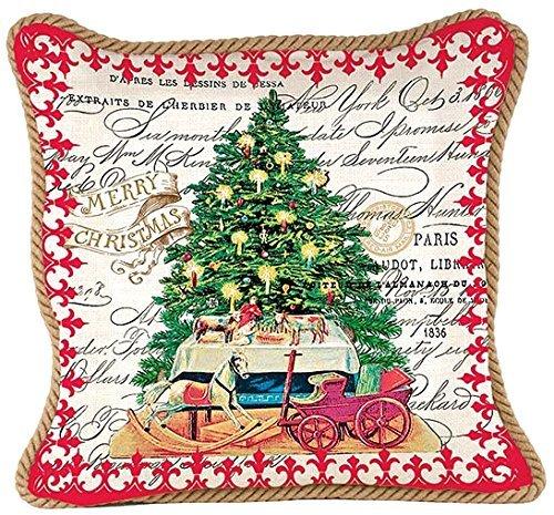 Michel Design Works Decorative 輸入 Square Throw Pillow Tree 並行輸入品 B0186SW942 Christmas 18' 安心と信頼 x