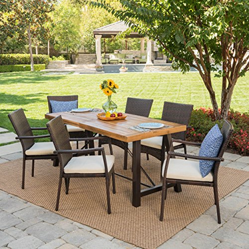 (Christopher Knight Home Playa | Outdoor 7-Piece Wood/Wicker Dining Set with Water Resistant Cushions | in Brown/Teak Finish/Cream)