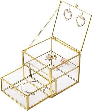Feyarl - Joyero de oro para joyas, cajón, caja decorativa de cristal, diseño de flores, caja decorativa: Amazon.es: Bricolaje y herramientas