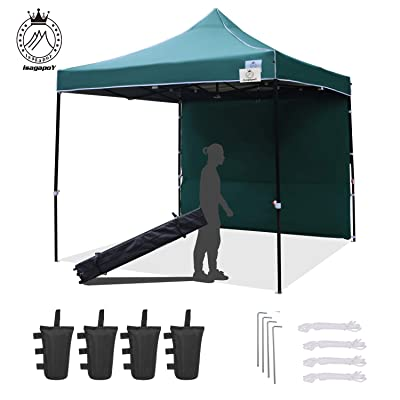IsagapoY Canopy Tent 10x10 Pop Up Canopy Tent Commercial Instant Shade Tent with Heavy Duty Roller Bag Bonus x 4 Canopy Sand Bags x 4 Tent Stakes x 1 Sidewallx 1(Forest Green) : Garden & Outdoor