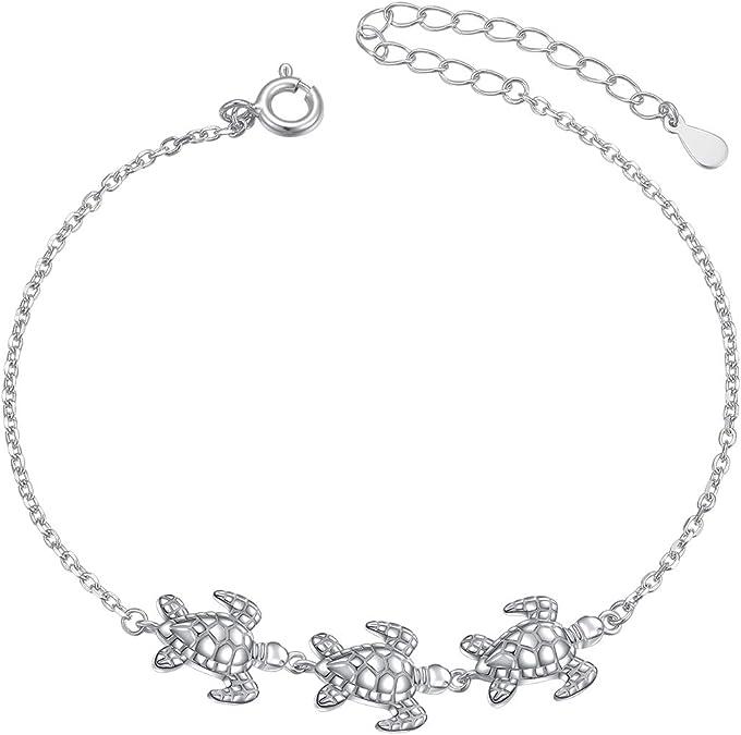 Beautiful Hawaiian Sea Turtle Anklet or Bracelet Sterling Silver Blue Opal Turtle Charm Bracelet A6028 Birthday Mom Christmas Gift