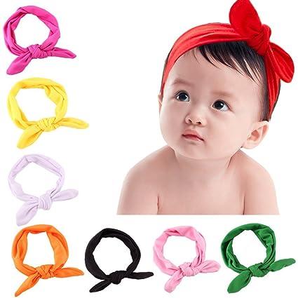 Frcolor 8pcs recién nacido niños niñas orejas de conejo diadema turbante arco nudo diadema